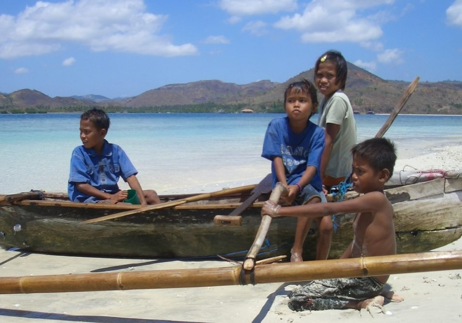 Lombok Boys with Canoe